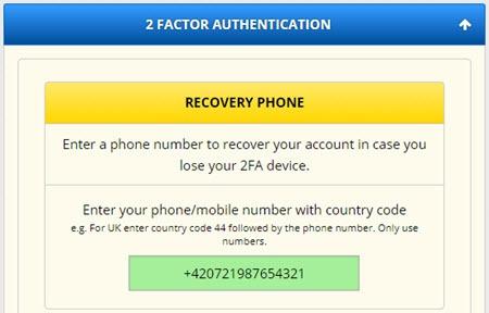 FreeBitco.in 2FA - zadejte telefon