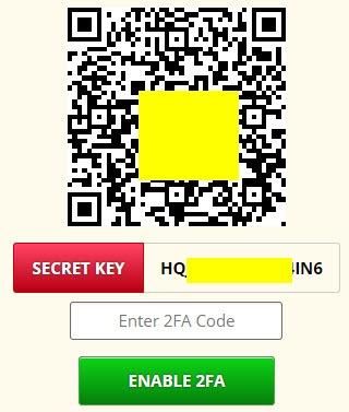FreeBitco.in 2FA - Secret key, zapnout dvoufázové přihlašování