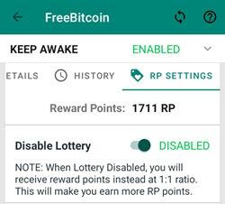 FreeBitco.in AOS - RP nastavení Disable lottery